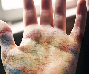 hand, map, and world image