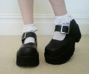 buckles, socks, and pastel goth image