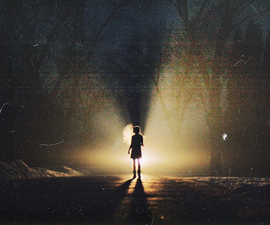 girl, light, and forest image