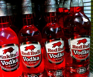 red bull, vodka, and pink bull image