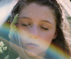 girl and rainbow image