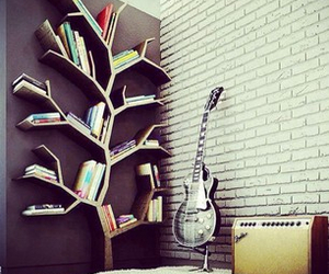 bedroom, books, and guitar image