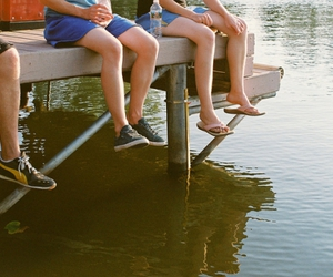 lake, shoes, and friends image