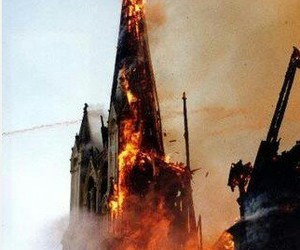 666, burning church, and fire image