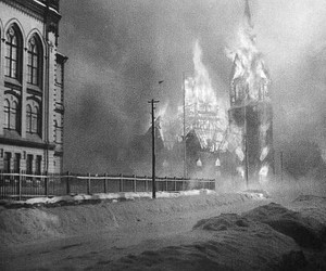 black and white, fire, and burning church image
