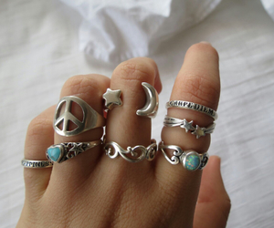 rings, peace, and moon image