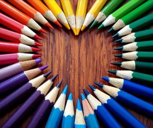 heart, colors, and pencil image