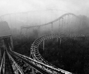 black and white, Roller Coaster, and dark image