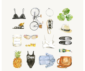 fashion, drawing, and summer image
