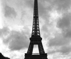 eiffel tower, paris, and black and white image