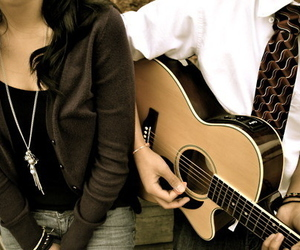 guitar, boy, and couple image