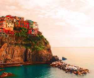 colorful, hill, and ocean image