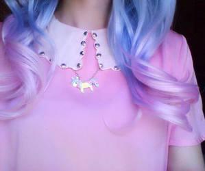pink, hair, and unicorn image