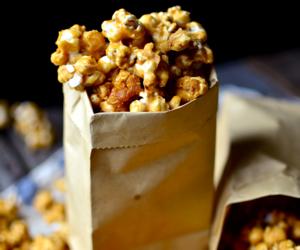 caramel, caramel corn, and popcorn image