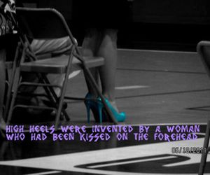 black and white, quote, and high heels image