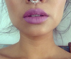 piercing, lipstick, and septum image