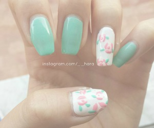 floral, nails, and flowers image