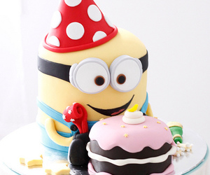 minions, cake, and birthday image