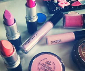 pink, mac, and make up image