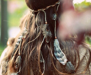 hair, feather, and boho image