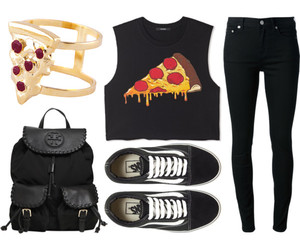 pizza, outfit, and food image