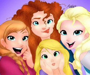 anna, elsa, and selfie image