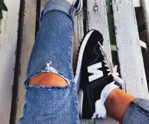 fashion, jeans, and new balance image