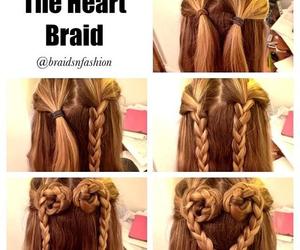 hair, braid, and heart image