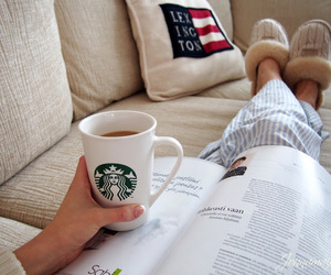 starbucks, coffee, and book image