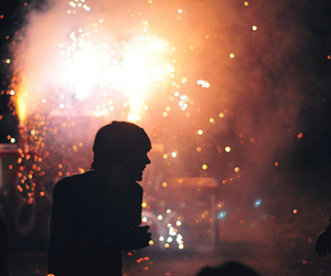 fireworks, boy, and light image