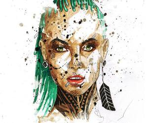 art, green hair, and paint image