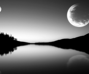 moon, nature, and water image