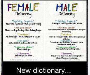 dictionary, male, and female image