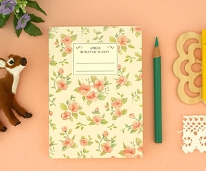 flowers, journal, and notebook image