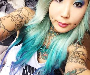 asian, dyed hair, and female image