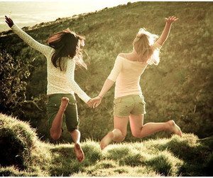 friends, girl, and jump image