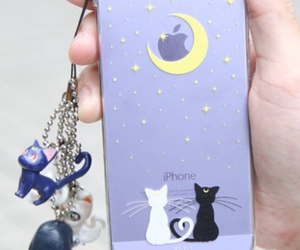 black cat, girly, and moon image