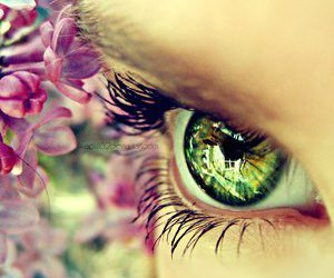 flowers, eye, and green image