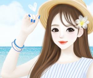 animated cute korean girl