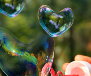 bubbles, girl, and heart image