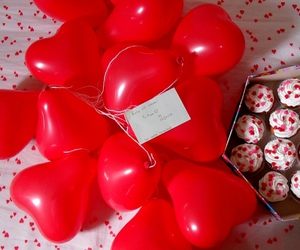 cupcake, love, and heart shaped balloons image