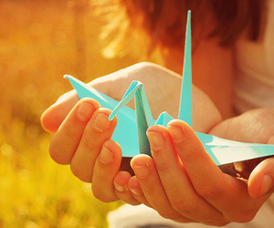 origami, bird, and blue image
