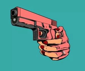 gun, pink, and woman image