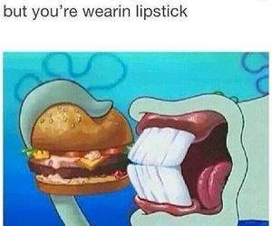 funny, lipstick, and spongebob image