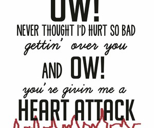 black and white, heart attack, and Lyrics image