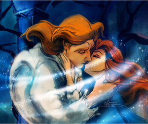 beauty and the beast, kiss, and disney image