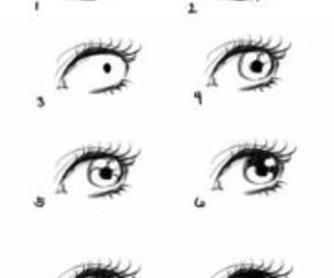 black and white, eye, and draw image