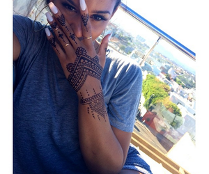 girl, nails, and henna image