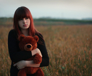 girl, bear, and red hair image