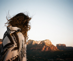 girl, mountains, and hair image